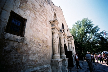 I love that the police guarding the Alamo wears a cowboy hat.